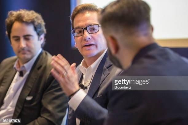 Salomon Chertorivsk economic advisor and platform coordinator for National Action Party presidential candidate Ricardo Anaya center speaks during the...