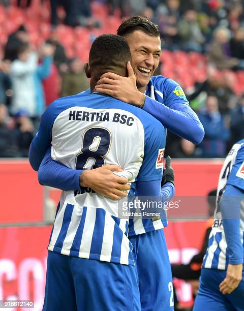 Salomon Kalou and Davie Selke of Hertha BSC celebrate after scoring the 02 during the first Bundeliga game between Bayer 04 Leverkusen and Hertha BSC...