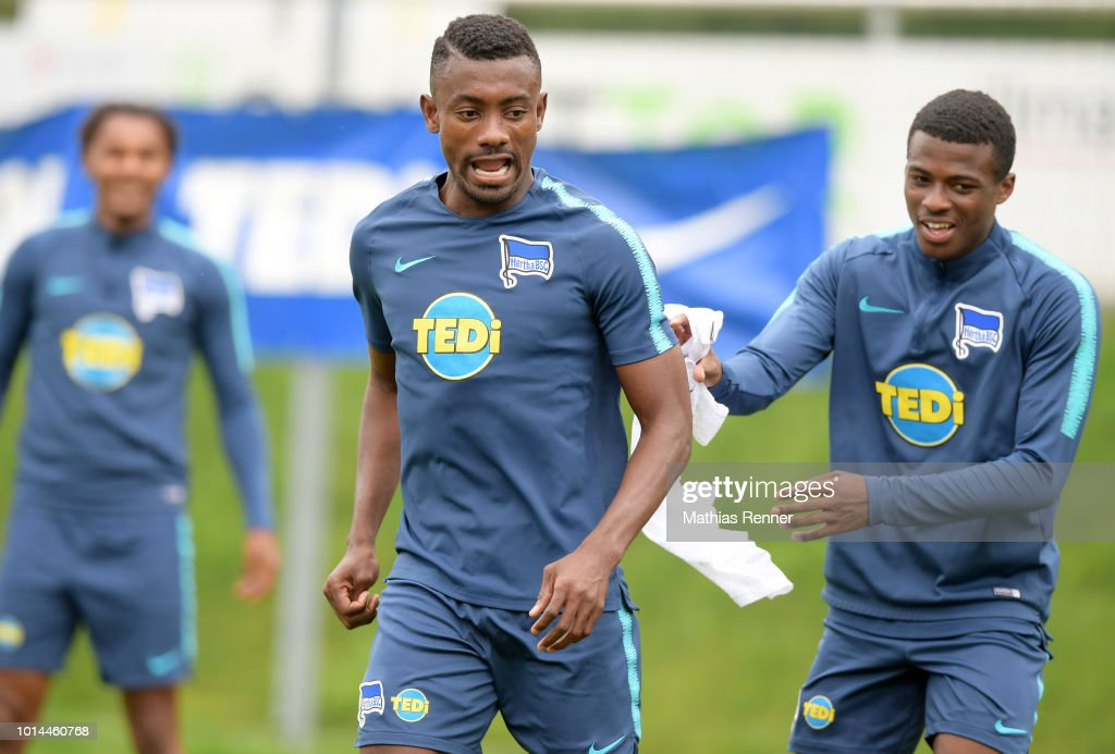 Salomon Kalou and Javairo Dilrosun of Hertha BSC gesture during the training camp on august 10, 2018 in Schladming, Austria. (Photo by Mathias Renner/City-Press via Getty Images)a
