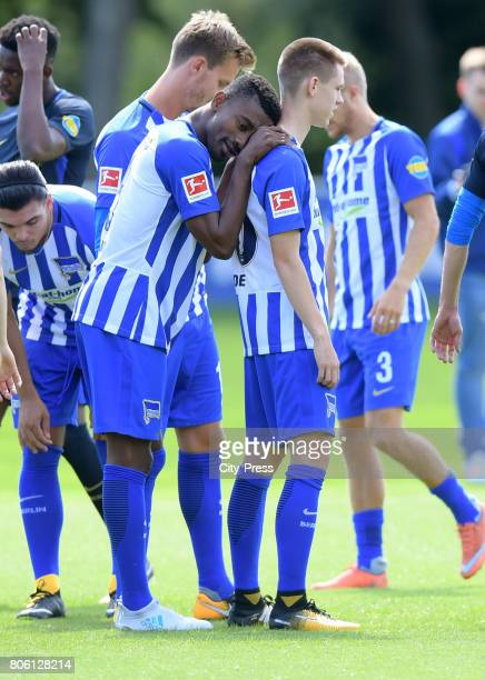 Salomon Kalou and Julius Kade of Hertha BSC during the first training session on july 3 2017 in Berlin Germany