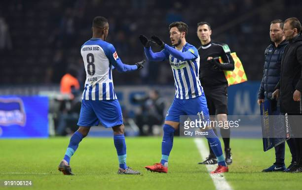 Salomon Kalou and Mathew Leckie of Hertha BSC during the first Bundesliga game between Hertha BSC and 1st FSV Mainz 05 at olympiastadion on February...