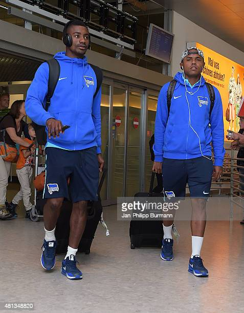 Salomon Kalou and Ronny of Hertha BSC during the arrival at Salzburg Airport of the trainingscamp in Schladming on July 19 2015 in Salzburg Austria