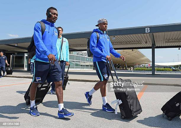 Salomon Kalou and Ronny of Hertha BSC during their arrival at Salzburg Airport ahead of the training camp in Schladming on July 19 2015 in Salzburg...
