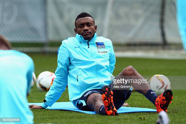 Salomon Kalou looks on during a Hertha BSC Berlin training session on day 6 of the Bundesliga Belek training camps at Gloria Sports Center on January...