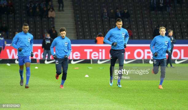 Salomon Kalou Mathew Leckie Davie Selke and Palko Dardai of Hertha BSC before the first Bundesliga game between Hertha BSC and 1st FSV Mainz 05 at...