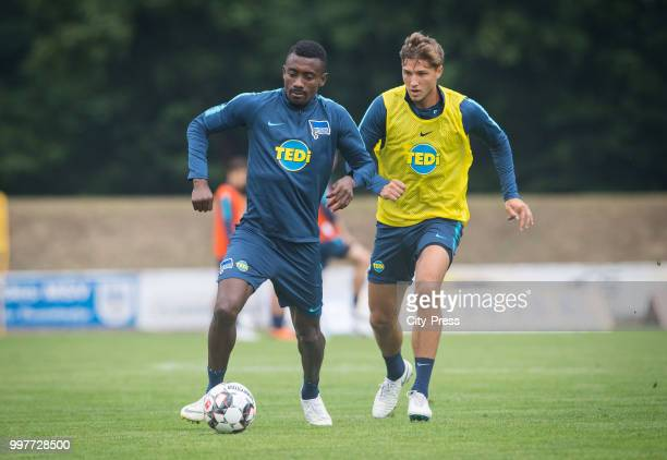 Salomon Kalou Niklas Stark during the Hertha BSC training camp on july 13 2018 in Neuruppin Germany