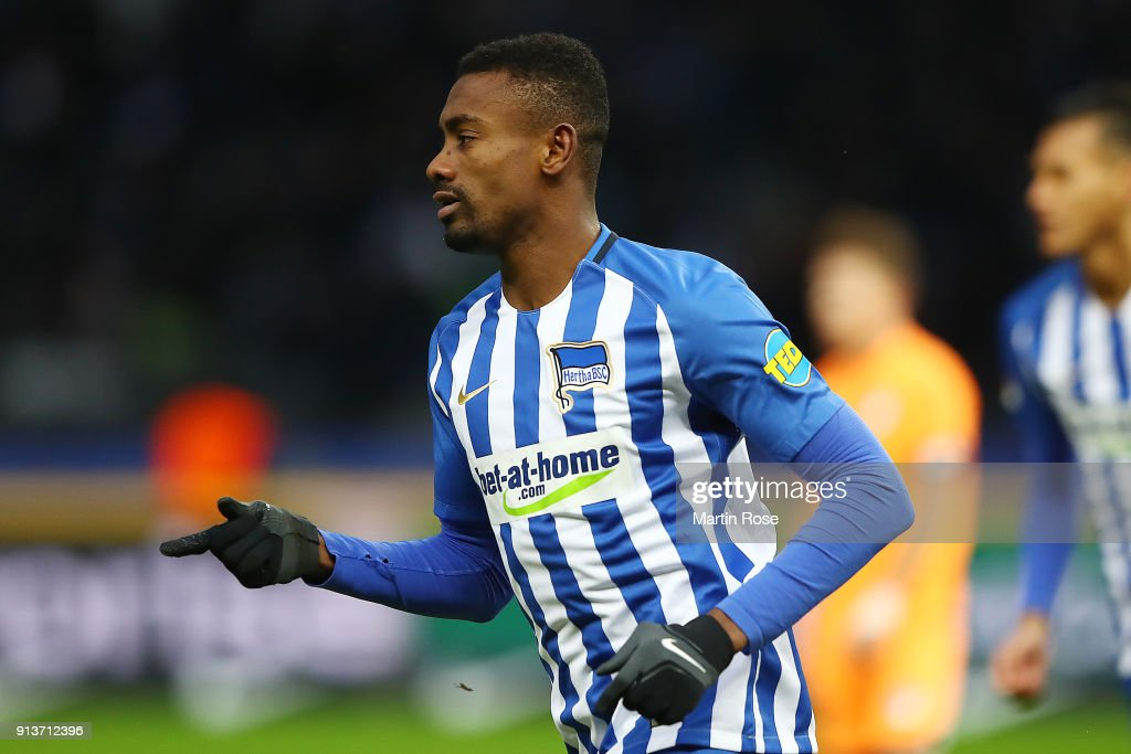 Salomon Kalou of Berlin celebrates after he scored a goal to make it 1:1 during the Bundesliga match between Hertha BSC and TSG 1899 Hoffenheim at Olympiastadion on February 3, 2018 in Berlin, Germany.