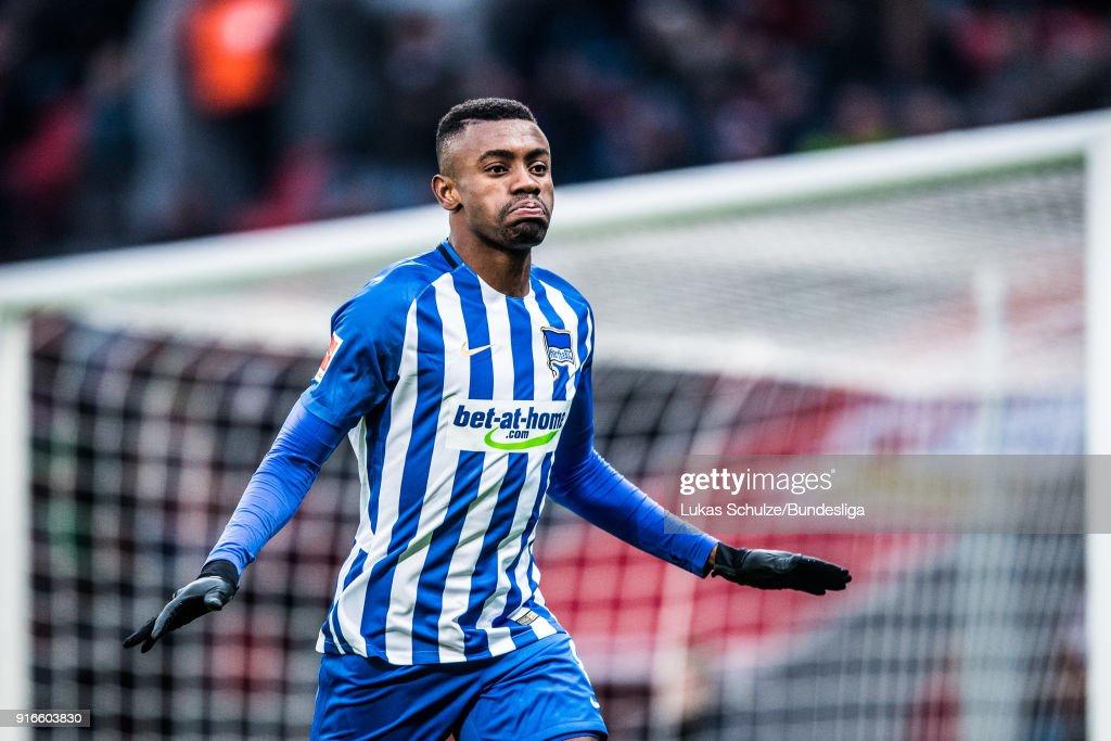 Salomon Kalou of Berlin celebrates his teams second goal during the Bundesliga match between Bayer 04 Leverkusen and Hertha BSC at BayArena on February 10, 2018 in Leverkusen, Germany.