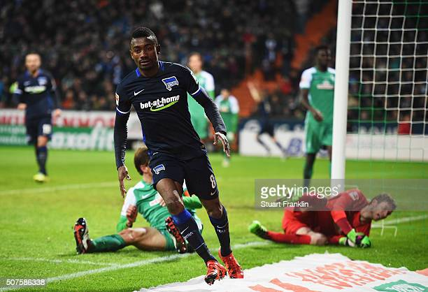 Salomon Kalou of Berlin celebrates scoring the third goal during the Bundesliga match between Werder Bremen and Hertha BSC at Weserstadion on January...