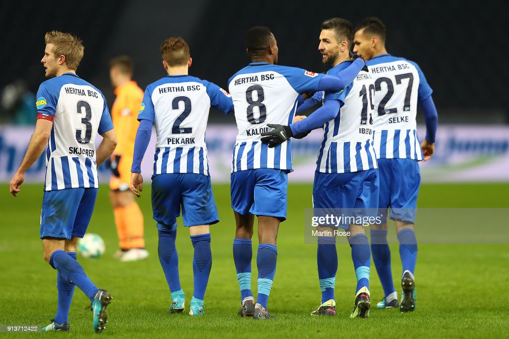 Salomon Kalou of Berlin (8) celebrates with his team after he scored a goal to make it 1:1 during the Bundesliga match between Hertha BSC and TSG 1899 Hoffenheim at Olympiastadion on February 3, 2018 in Berlin, Germany.