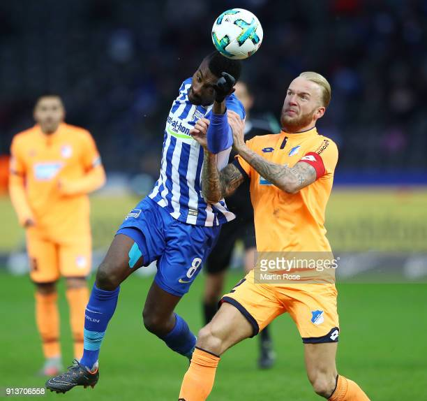 Salomon Kalou of Berlin fights for the ball with Kevin Vogt of Hoffenheim during the Bundesliga match between Hertha BSC and TSG 1899 Hoffenheim at...