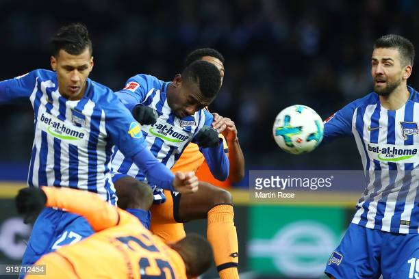 Salomon Kalou of Berlin heads a goal to make it 11 during the Bundesliga match between Hertha BSC and TSG 1899 Hoffenheim at Olympiastadion on...
