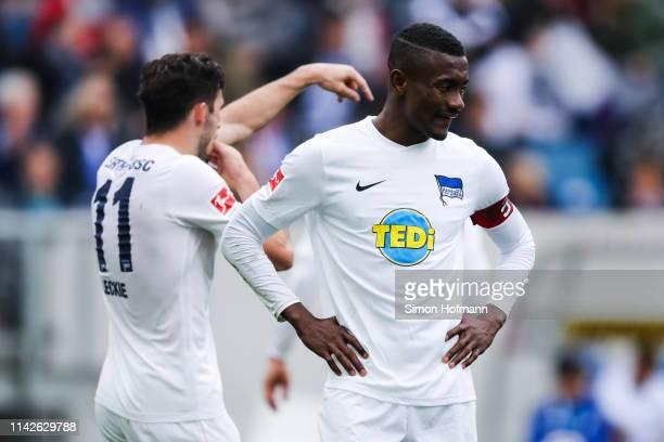 Salomon Kalou of Berlin reacts during the Bundesliga match between TSG 1899 Hoffenheim and Hertha BSC at PreZero-Arena on April 14, 2019 in Sinsheim,...