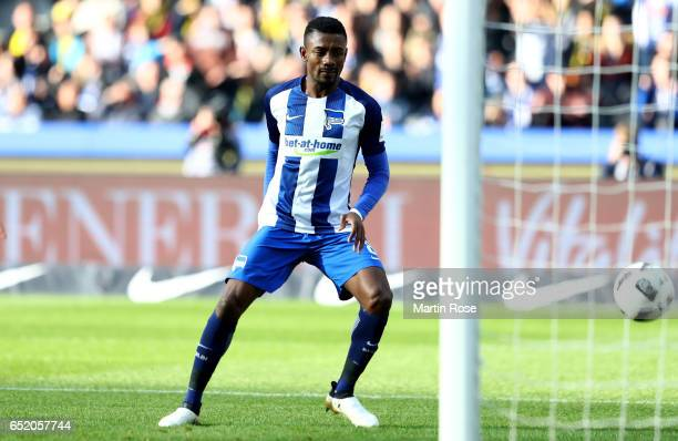 Salomon Kalou of Berlin scores his teams first goal during the Bundesliga match between Hertha BSC and Borussia Dortmund at Olympiastadion on March...