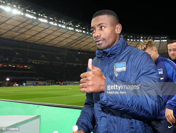 Salomon Kalou of Berlin shows his delight after scoring three goals during the Bundesliga match between Hertha BSC and Borussia Moenchengladbach at...