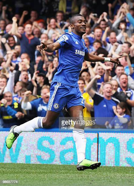 Salomon Kalou of Chelsea celebrates as he scores their first goal during the Barclays Premier League match between Chelsea and Stoke City at Stamford...