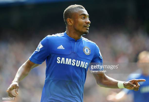 Salomon Kalou of Chelsea celebrates as he scores their second goal during the Barclays Premier League match between Chelsea and Stoke City at...