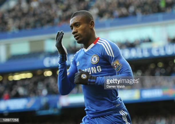 Salomon Kalou of Chelsea celebrates scoring Chelsea's second goal during the Barclays Premier League match between Chelsea and Wolverhampton...