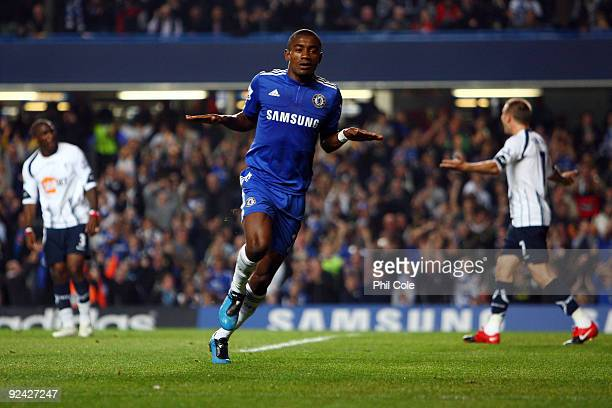 Salomon Kalou of Chelsea celebrates scoring the first goal during the Carling Cup 4th Round match between Chelsea and Bolton Wanderers at Stamford...