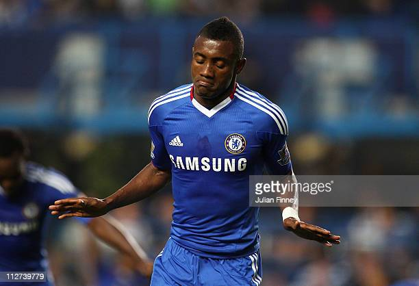 Salomon Kalou of Chelsea celebrates scoring the second goal during the Barclays Premier League match between Chelsea and Birmingham City at Stamford...