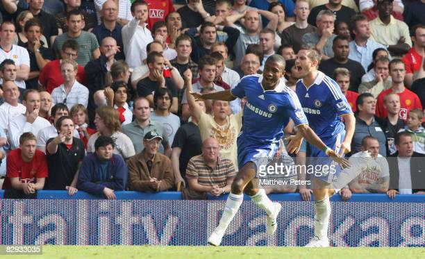 Salomon Kalou of Chelsea celebrates scoring their first goal during the FA Premier League match between Chelsea and Manchester United at Stamford...