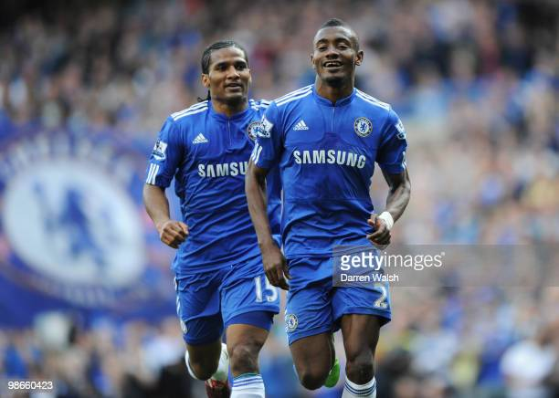 Salomon Kalou of Chelsea celebrates with Florent Malouda after scoring his third and his team's fourth goal during the Barclays Premier League match...