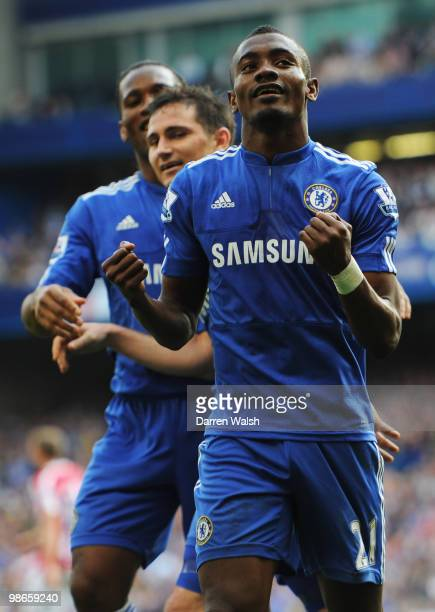 Salomon Kalou of Chelsea celebrates with Frank Lampard and Didier Drogba after scoring his third and his team's fourth goal during the Barclays...