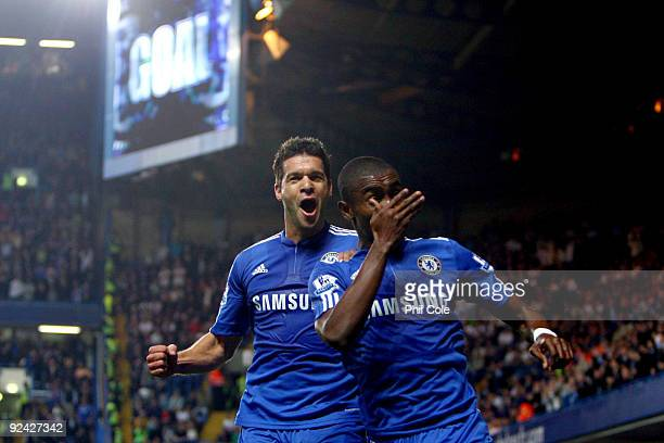 Salomon Kalou of Chelsea celebrates with his team mate Michael Ballack of Chelsea after Kalou scored the first goal during the Carling Cup 4th Round...
