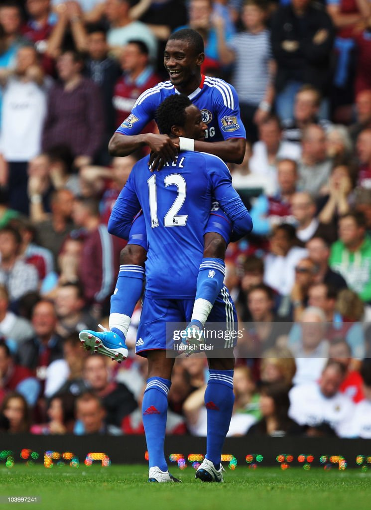 Salomon Kalou of Chelsea celebrates with John Obi Mikel (12) as scores their second goal during the Barclays Premier League match between West Ham United and Chelsea at the Boleyn Ground on September 11, 2010 in London, England.