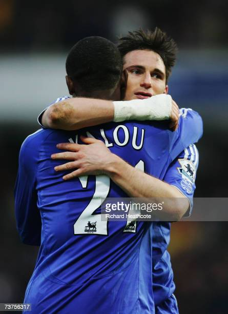 Salomon Kalou of Chelsea celebrates with team mate Frank Lampard after scoring the only goal of the Barclays Premiership match between Watford and...