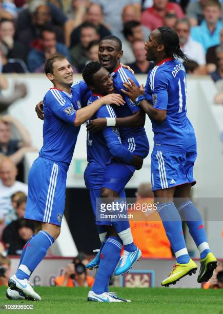 Salomon Kalou of Chelsea celebrates with team mates as he scores their second goal during the Barclays Premier League match between West Ham United...