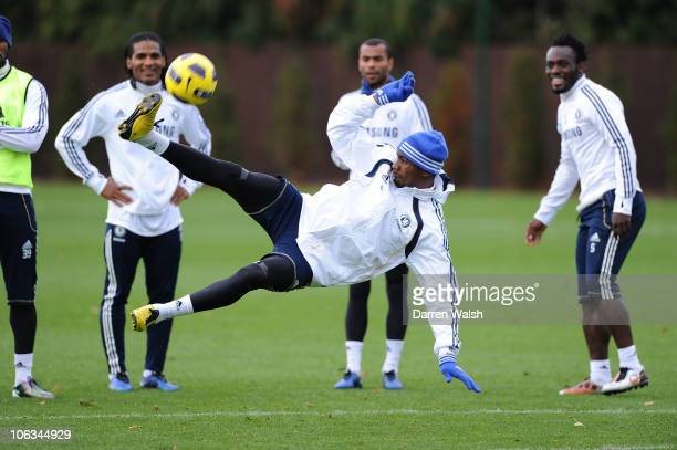 Salomon Kalou of Chelsea during a training session at the Cobham training ground on October 29 2010 in Cobham England