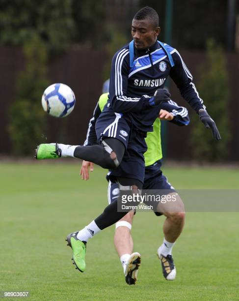 Salomon Kalou of Chelsea during a training session at the Cobham Training Ground on May 7, 2010 in Cobham, England.