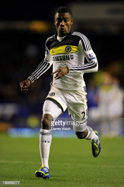 Salomon Kalou of Chelsea in action during the Carling Cup Fourth Round match between Everton and Chelsea at Goodison Park on October 26 2011 in...