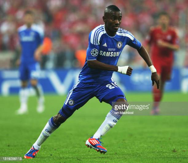 Salomon Kalou of Chelsea is seen in action during UEFA Champions League Final between FC Bayern Muenchen and Chelsea at the Fussball Arena München on...