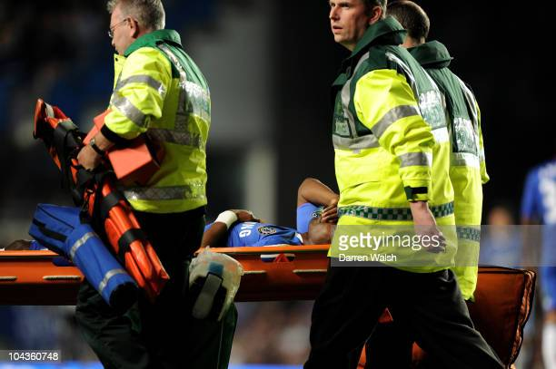 Salomon Kalou of Chelsea is stretchered off the pitch after injuring himmselfduring the Carling Cup third round match between Chelsea and Newcastle...
