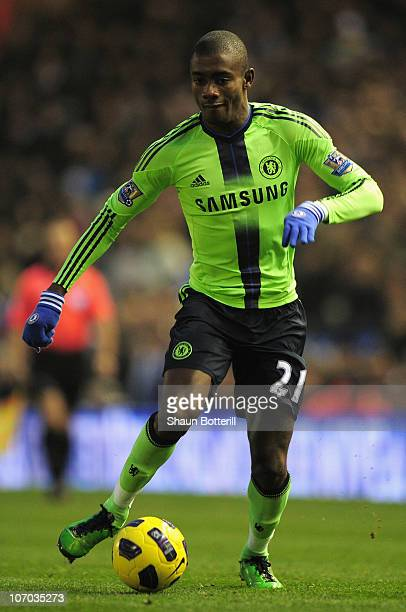 Salomon Kalou of Chelsea runs with the ball during the Barclays Premier League match between Birmingham City and Chelsea at St Andrews on November 20...