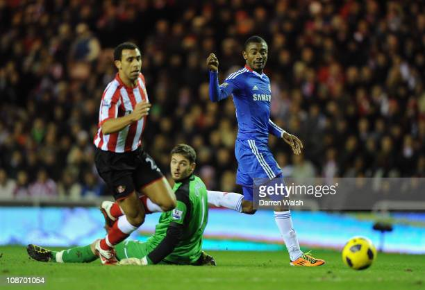 Salomon Kalou of Chelsea scores his team's second goal during the Barclays Premier League match between Sunderland and Chelsea at the Stadium of...