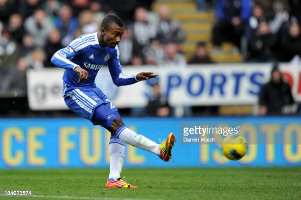 Salomon Kalou of Chelsea scores his team's second goal during the Barclays Premier League match between Newcastle United and Chelsea at the Sports...