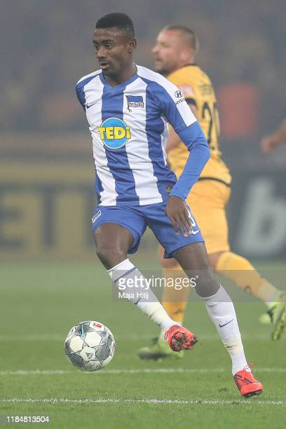 Salomon Kalou of Hertha Berlin controls the ball during the DFB Cup second round match between Hertha BSC and Dynamo Dresden at Olympiastadion on...