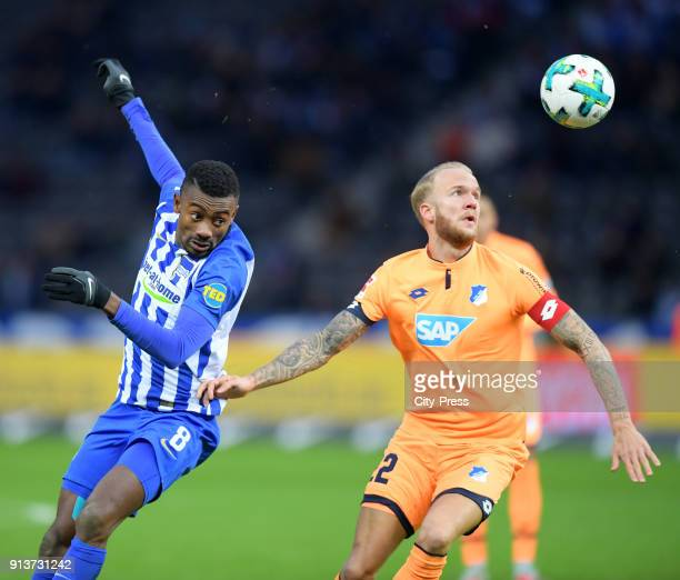 Salomon Kalou of Hertha BSC and Kevin Vogt of the TSG 1899 Hoffenheim during the Bundesliga match between Hertha BSC and TSG Hoffenheim on february 3...