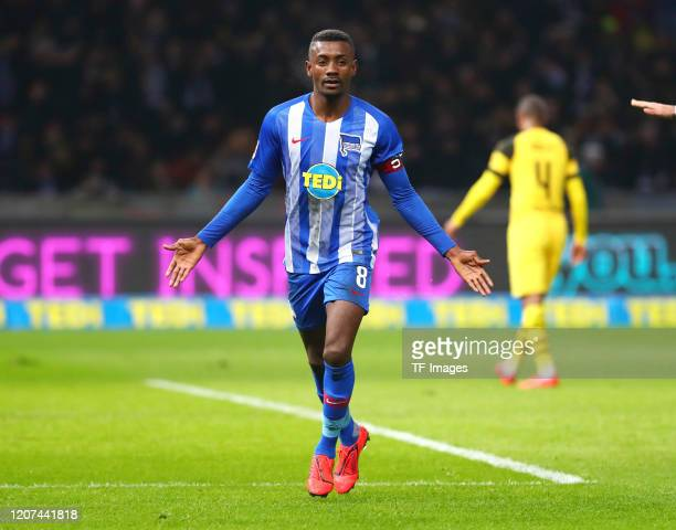 Salomon Kalou of Hertha BSC Berlin during the Bundesliga match between Hertha BSC and Borussia Dortmund at Olympiastadion on March 16, 2019 in...