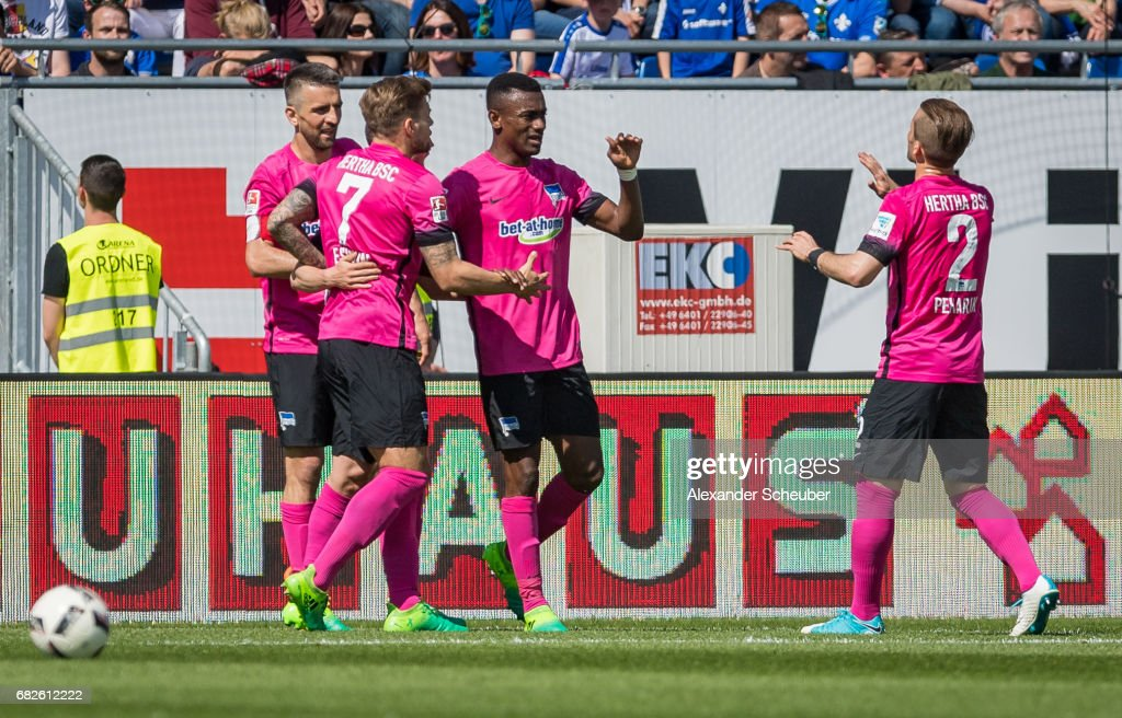 Salomon Kalou of Hertha BSC celebrates the first goal for his team with his teammates during the Bundesliga match between SV Darmstadt 98 and Hertha BSC at Stadion am Boellenfalltor on May 13, 2017 in Darmstadt, Germany.