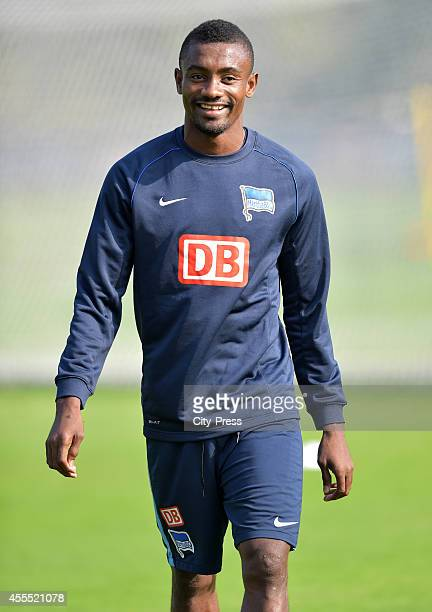 Salomon Kalou of Hertha BSC laughs during the Training of Hertha BSC on September 16, 2014 in Berlin, Germany.