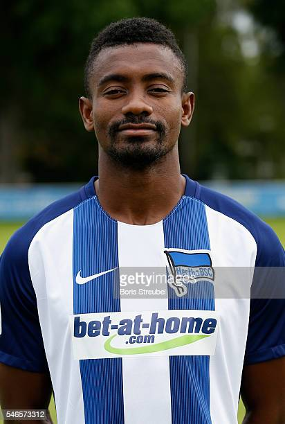 Salomon Kalou of Hertha BSC poses during the Hertha BSC Team Presentation on July 12 2016 in Berlin Germany