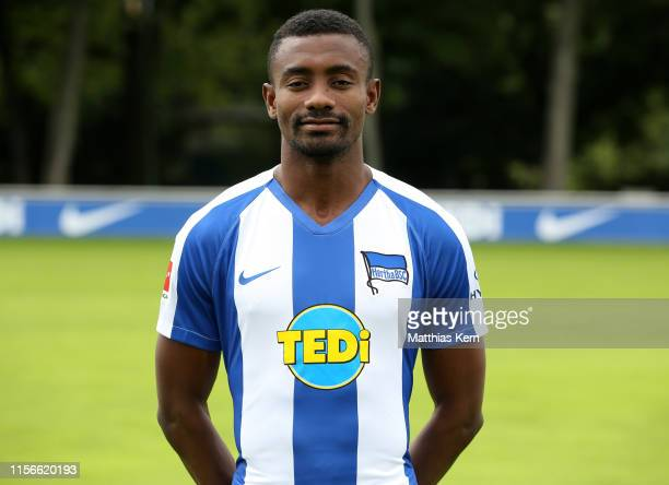 Salomon Kalou of Hertha BSC poses during the team presentation at Schenckendorffplatz on July 19, 2019 in Berlin, Germany.