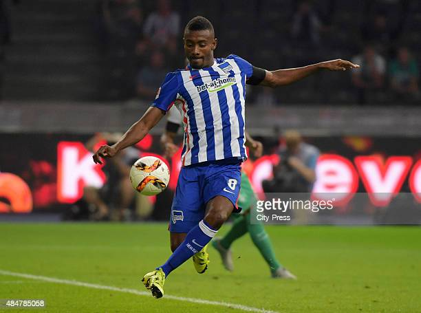 Salomon Kalou of Hertha BSC shoots the ball during the game between Hertha BSC and Werder Bremen on August 21 2015 in Berlin Germany
