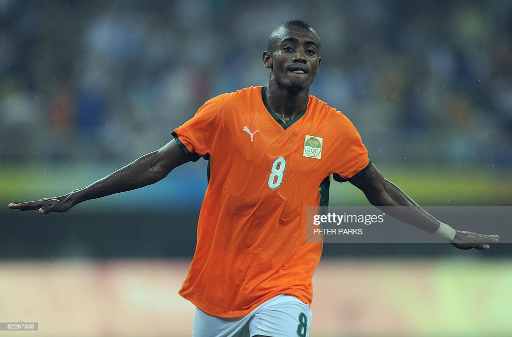 Salomon Kalou of Ivory Coast celebrates scoring against Australia in their men's first round group A football match at the Beijing 2008 Olympic Games in Tianjin on August 13, 2008. Ivory Coast beat Australia 1-0. AFP PHOTO/Peter PARKS