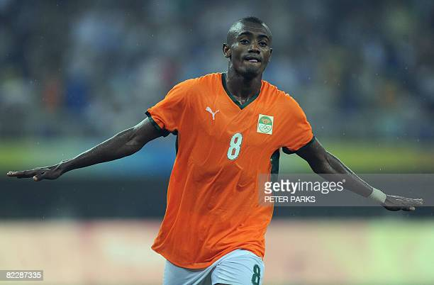 Salomon Kalou of Ivory Coast celebrates scoring against Australia in their men's first round group A football match at the Beijing 2008 Olympic Games...
