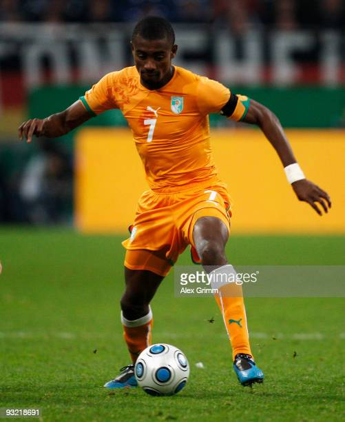 Salomon Kalou of Ivory Coast runs with the ball during the International friendly match between Germany and the Ivory Coast at the Schalke Arena on...